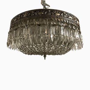 Vintage Italian Flush Mount Crystal Ceiling Lamp, 1930s