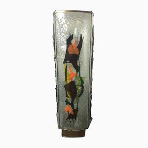 Lámpara de pie estadounidense vintage de vidrio de Arik, 1974