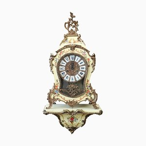 Antique Style Bronze & Wood Clock, 1920s