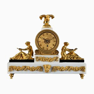 Antique Regency Marble, Bronze, and Gilt Metal Mantel Clock