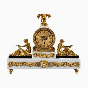Horloge de Cheminée Regency Antique en Marbre, Bronze et Métal Doré