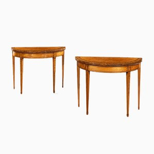 Antique Satinwood and Tulipwood Console Tables by John Cobb, Set of 2