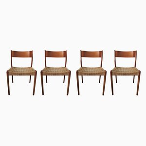 Mid-Century Danish Teak and Paper Cord Dining Chairs, 1960s, Set of 4