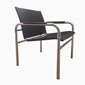 Scandinavian Modern Chrome and Leather Klinte Chair by Tord Bjorklund, 1970s