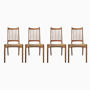 Vintage Danish Teak and Paper Cord Dining Chairs, 1960s, Set of 4