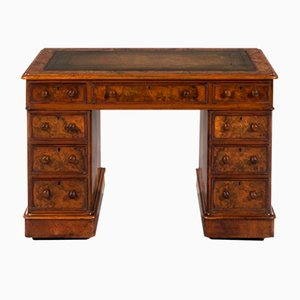 Antique English Burr Walnut Pedestal Desk