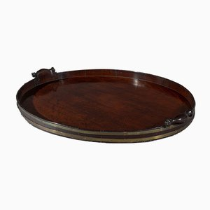 18th Century George III Oval Brass & Mahogany Tray