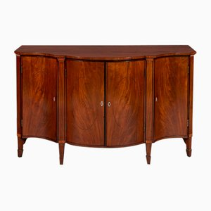 Antique Mahogany and Satinwood Breakfront Cabinet