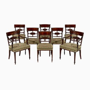 Antique George III Mahogany and Veneer Dining Chairs, Set of 8