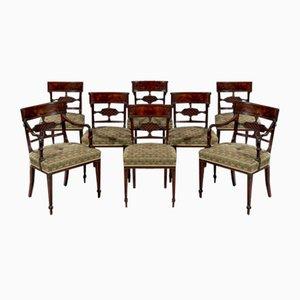 Sedie da pranzo Giorgio III antiche in mogano ed impiallacciate, set di 8