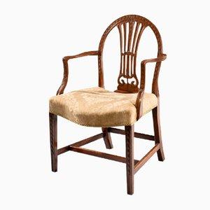 Sedia da scrivania Giorgio III antica in legno di mogano intagliato