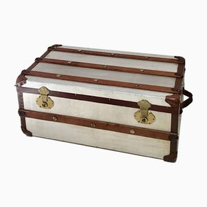 Small Aluminum Cabin Steamer Trunk, 1950s