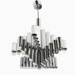 Lámpara de araña italiana grande de metal cromado de Gaetano Sciolari, años 60