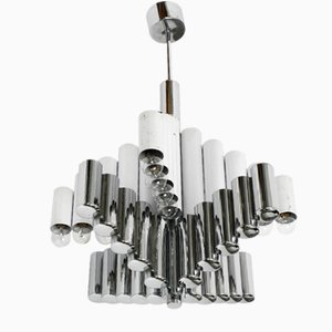 Large Italian Chromed Metal Chandelier by Gaetano Sciolari, 1960s