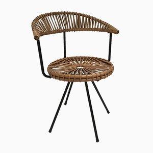 Stuhl aus Gusseisen & Rattangeflecht von Dirk van Sliedregt für Rohé Noordwolde, 1950er