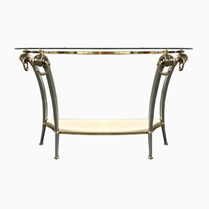 Vintage Brass and Glass Console Table, 1970s