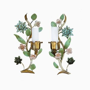 Vintage Italian Flower Wall Light Sconces, Set of 2