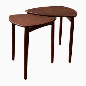 Mesas de centro de teca y chapa de Tove Kindt-Larsen, años 60. Juego de 2