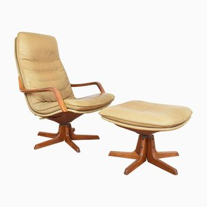 Danish Leather and Teak C90 Armchair with Ottoman from Berg Furniture, 1970s