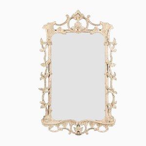 Specchio Giorgio III rococò antico verniciato in bianco