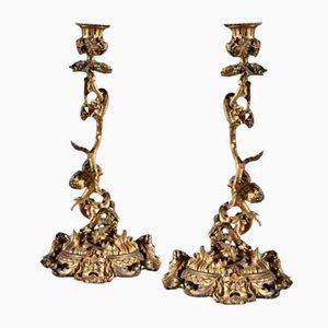 Antique Regency Brass Bacchanalian Candleholders, Set of 2