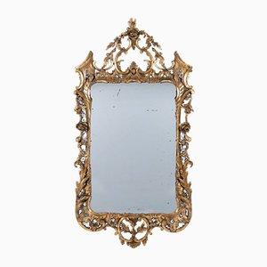 Specchio grande Giorgio XV rococò in legno dorato intagliato, XVIII secolo