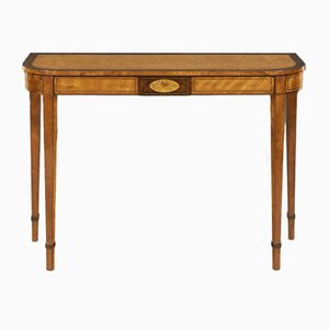Antique George III Satinwood and Burr Yew Console Table