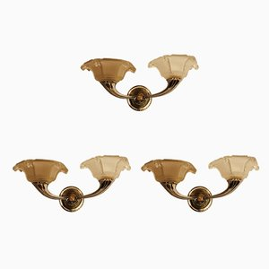 Art Deco French Bronze Sconces, 1930s, Set of 3