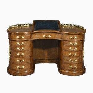 Nierenförmoger Schreibtisch aus brauner Eiche mit Ormolu-Vergoldung von Gillows of Lancaster, 19. Jh.
