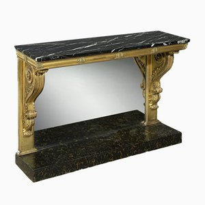 19th-Century Regency Carved Giltwood & Marble Console Table