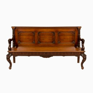 Antique 19th Century Colonial Export Triple-Back Padouk Hall Bench