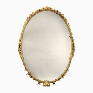 Oval 18th-Century George III Carved Giltwood Mirror