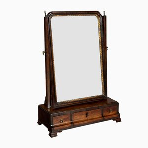18th-Century George III Mahogany Dressing Mirror with Parcel Gilt Moulding