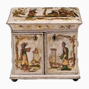 Antique Regency Cream & Gilt Sewing Cabinet