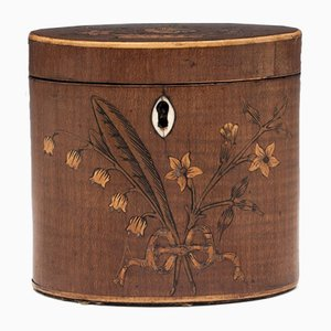 Oval 18th-Century George III Miniature Harewood Tea Caddy