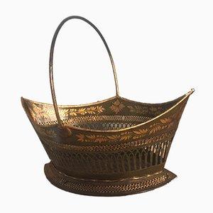 Antique Regency Green Lacquer Toleware Basket
