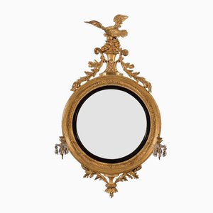 19th-Century Regency Carved Giltwood Girandole Convex Mirror