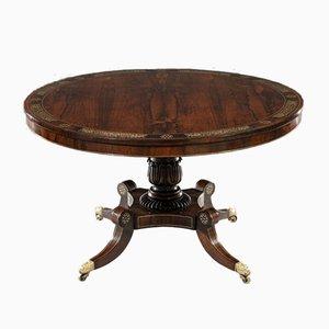 Antiker Regency Frühstückstisch aus Messing & Palisander mit Intarsien