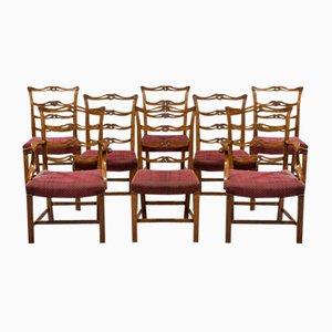 Juego de sillas antiguas de caoba. Juego de 8