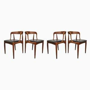 Chaises de Salle à Manger en Skaï et Teck par Johannes Andersen pour Uldum Møbelfabrik, Danemark, 1960s, Set de 4