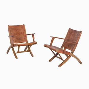Leather Folding Chairs by Angel I. Pazmino for Muebles de Estilo, 1960s, Set of 2
