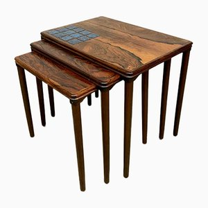 Danish Ceramic and Rosewood Nesting Tables from Heltborg Møbler, 1960s