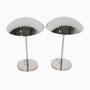 Bauhaus Style Chrome Table Lamps from Lumess, 1970s, Set of 2