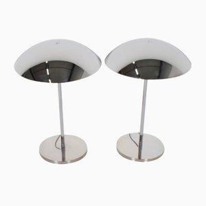 Lámparas de mesa estilo Bauhaus cromadas de Lumess, años 70. Juego de 2