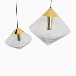 Brass and Glass B-1218 Ceiling Lamps from Raak, 1970s, Set of 2