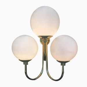 Applique in ottone e vetro di Murano, Italia, anni '80, set di 2