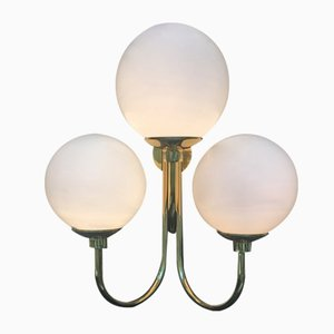 Italian Brass and Murano Glass Globe Sconces, 1980s, Set of 2