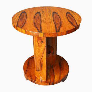 Circular Art Deco Walnut Drinks Table, 1920s