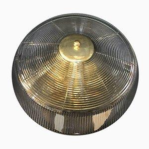 Industrielle italienische Deckenlampe aus Messing & Glas von Fidenza Vetraria, 1950er