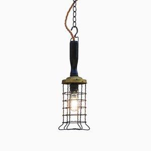 Lampada da soffitto vintage industriale in ottone e legno, Francia, anni '30